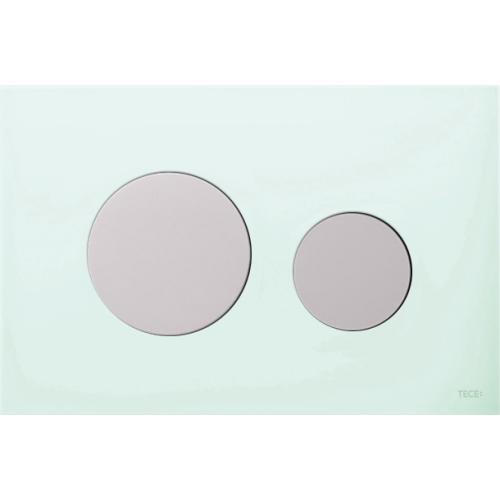 TECEloop vandens nuleidimo plokštelė stikliniu paviršiumi, stiklas žalias, mygtukai balti