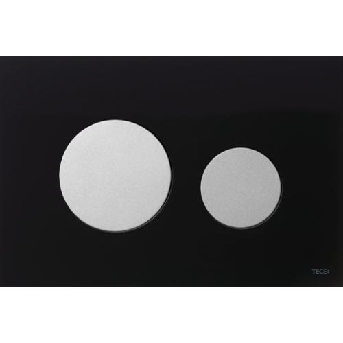 TECEloop vandens nuleidimo plokštelė stikliniu paviršiumi, stiklas juodas, mygtukai matiniai