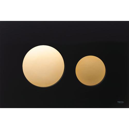 TECEloop vandens nuleidimo plokštelė stikliniu paviršiumi, stiklas juodas, mygtukai paauksuoti