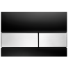 TECEsquare vandens nuleidimo plokštelė stikliniu paviršiumi, stiklas juodas, matinio nerūdijančio plieno spalvos mygtukai
