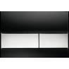 TECEsquare vandens nuleidimo plokštelė stikliniu paviršiumi, stiklas juodas, mygtukai chromuoti, blizgantys