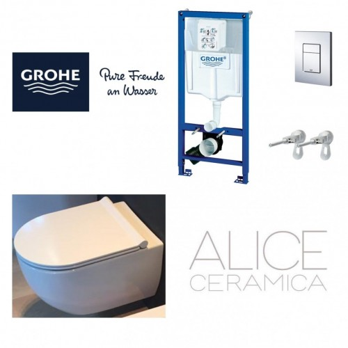 GROHE 5in1 wc rėmas ir Alice Ceramica Unica RIMLESS klozetas su SLIM soft close