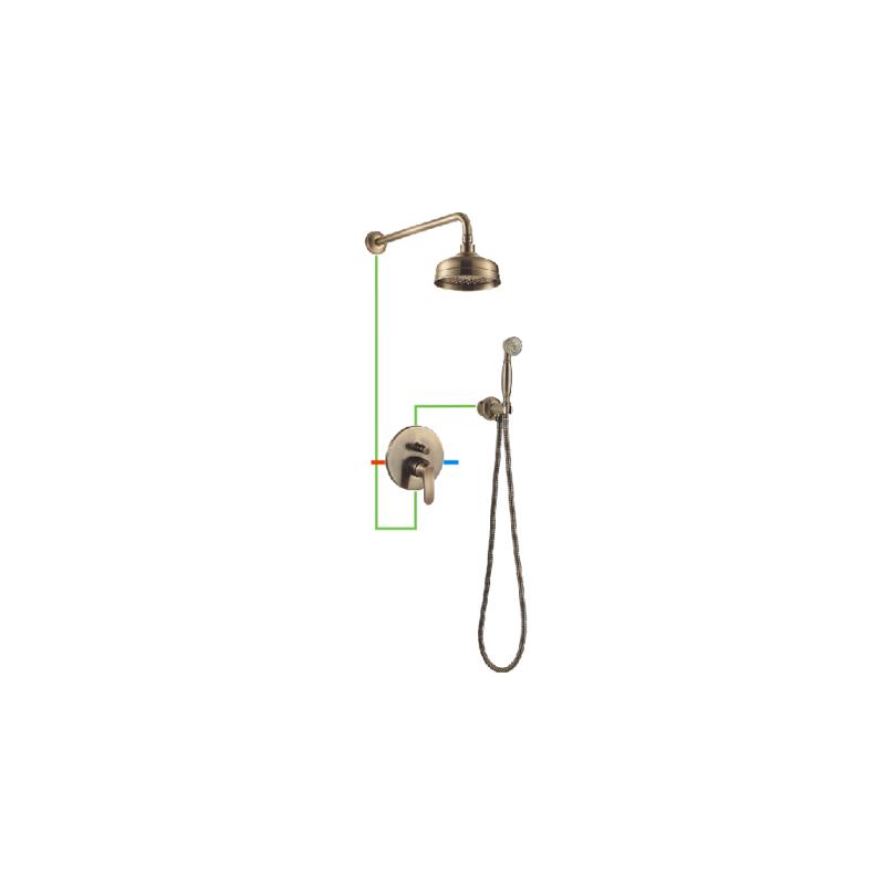 Bronzos spalvos potinkinė dušo sistema Omnires Art Deco SYS AD26 BR