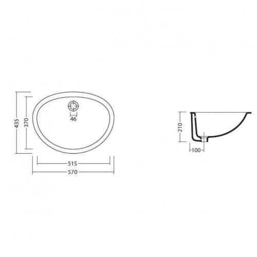Praustuvas Alice Ceramica Tipo montuojamas po stalviršiumi 570*430 mm