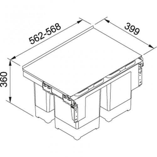 Franke šiukšlių rūšiavimo sistema 60cm pločio spintelei GARBO 60-4 (2x12 l + 2x8 l)