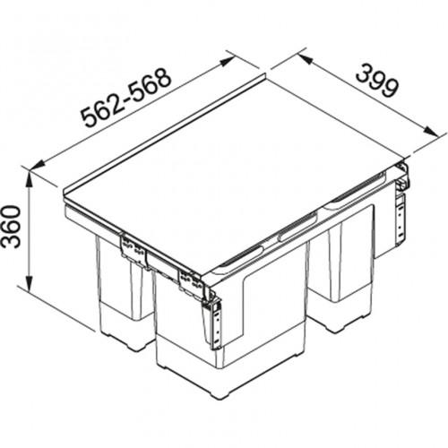 Franke šiukšlių rūšiavimo sistema  60cm pločio spintelei GARBO 60-3 (18l +12l + 8l)