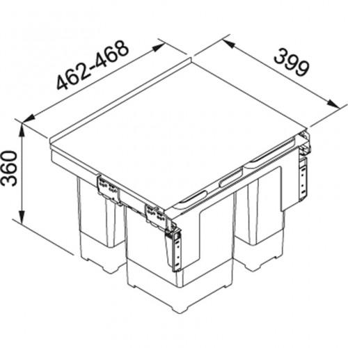Franke šiukšlių rūšiavimo sistema 50 cm pločio spintelei Garbo 50-3 (2x12l + 8l)