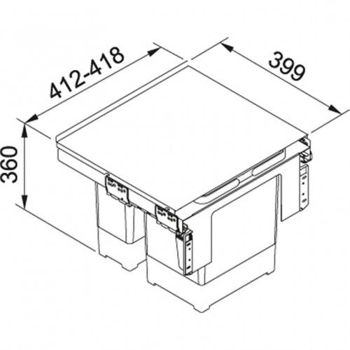 Franke šiukšlių rūšiavimo sistema 45 cm pločio spintelei GARBO 45-2 (18 l + 12l)