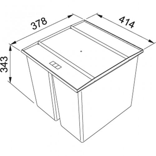 Franke šiukšlių rūšiavimo sistema 45 cm pločio spintelei  Easy Sort 45 - kibirėliai 2 x 14,5 L