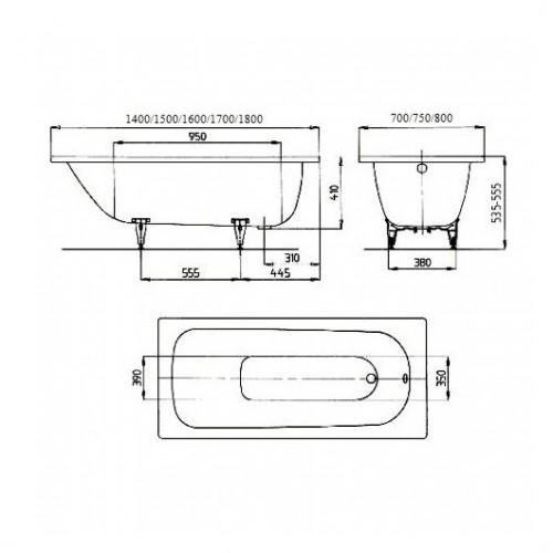 Plieninė vonia Kaldewei Saniform Plus 150*70