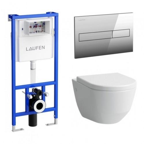 Komplektas Laufen unitazas wc Pro New Rimless su dangčiu ir potinkinis rėmas LIS CW1 su mygtuku