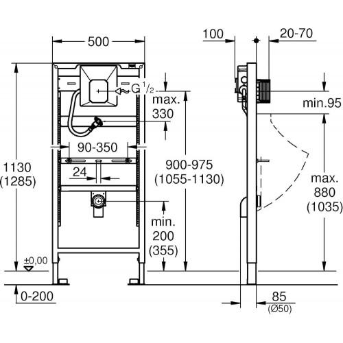Pisuaro rėmas GROHE Rapid SL su Rapido U skalavimo mechanizmu 38786001