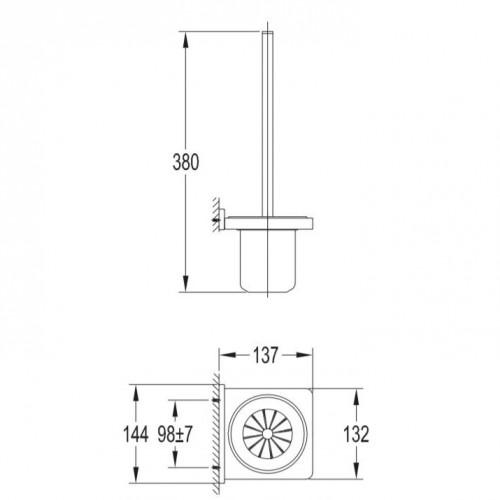 Pakabinamas tualetinis šepetys Omnires Darling DA70620 BL