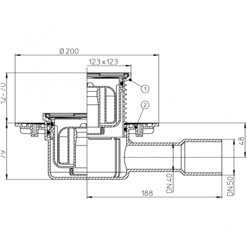 HL510NPR trapas su rėmeliu 123x123mm, nerūdijančio plieno grotelėmis 115x115mm