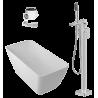 Lieto akmens vonia Parma + grindinis maišytuvas Omnires Parma + sifonas