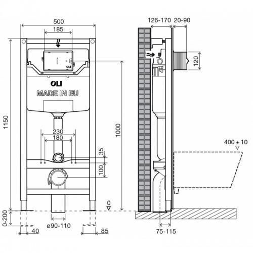 Potinkinis WC rėmas OLI120 universalus, montavimo aukštis 115cm