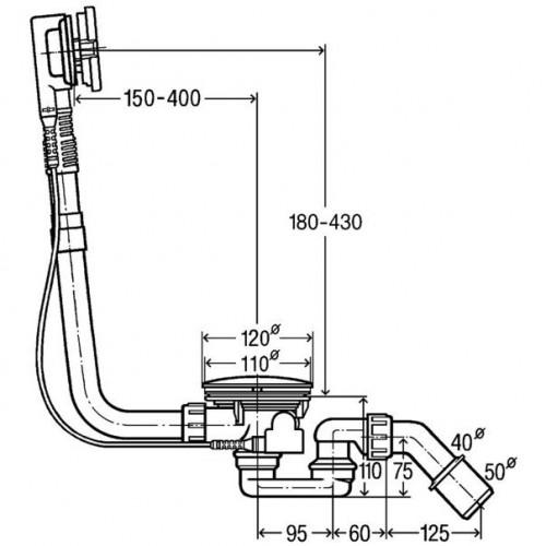 Vonios sifonas VIEGA Simplex prailgintas su reguliuojama perpylimo sistema, 40/50, 595678