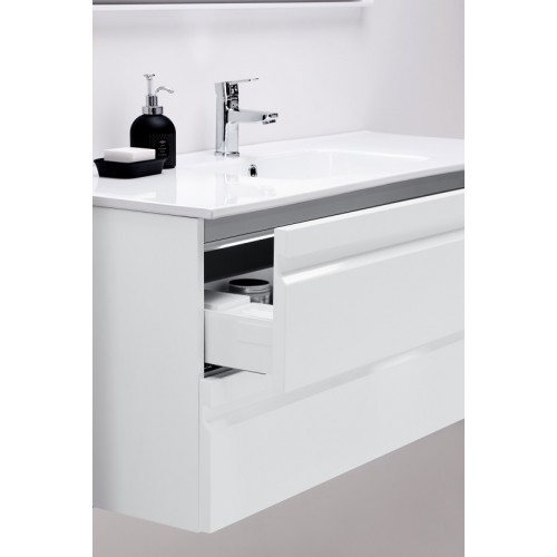 Kame Terra 120x45cm apatinė spintelė su stalčiais, blizgi balta