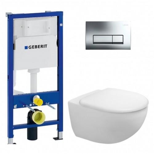 Potinkinio WC rėmo Geberit ir pakabinamo klozeto Duravit Architec su lėtaeigiu dangčiu komplektas