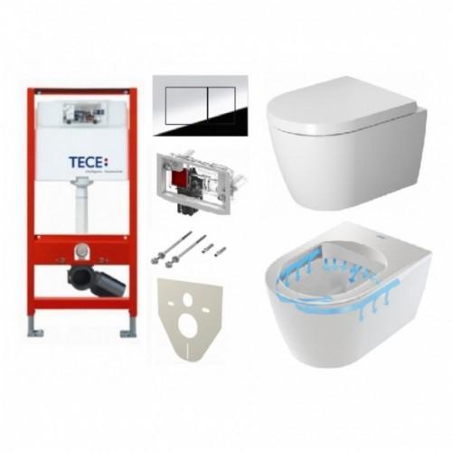 Potinkinio WC rėmo Tece ir klozeto Duravit ME by Starck Compact Rimless komplektas
