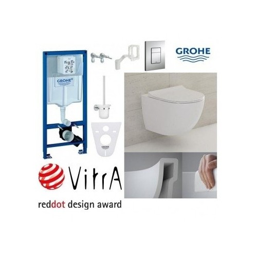 WC rėmo Grohe Fresh ir klozeto Vitra Sento Rim-Ex komplektas