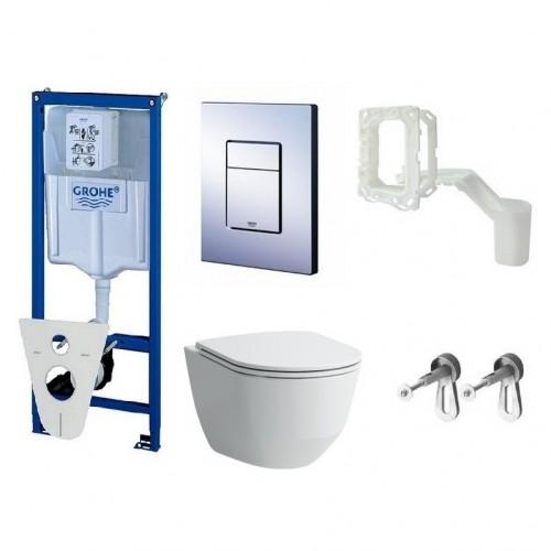 Potinkinio WC rėmo Grohe Rapid SL ir klozeto Laufen Pro New su plonu lėtaeigiu dangčiu komplektas