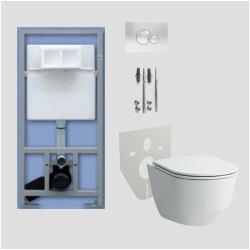 WC rėmo Sanit ir pakabinamo klozeto Laufen Pro Rimless su Slim SC dangčiu komplektas