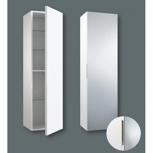 Kame Gama ūkinė spintelė 160x35cm, durelės su veidrodžiu, spalva balta blizgi