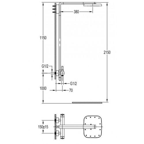 Dušo sistema Omnires Hudson HS4144/6 su termostatiniu maišytuvu