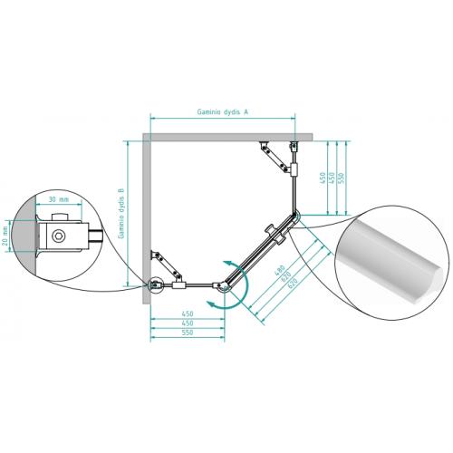 Brasta Glass penkiakampė dušo kabina Lina 90x90 cm, stiklo spalva pasirinktinai