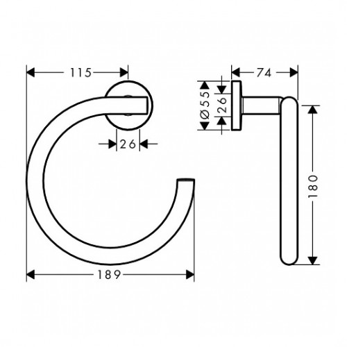 Rankšluosčio laikiklis žiedas Hansgrohe Logis Universal