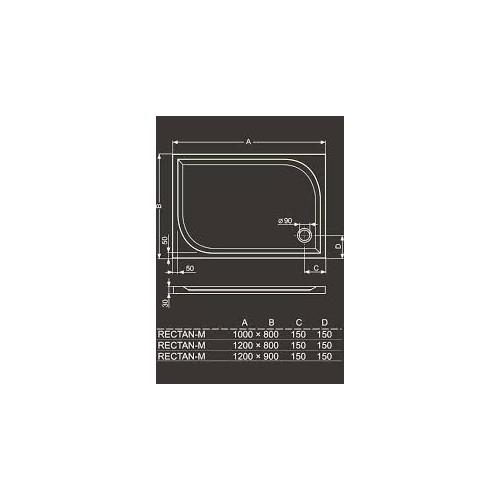 Roltechnik Rectan-M 1000*800 mm, stačiakampis dušo padėklas iš lydyto marmuro
