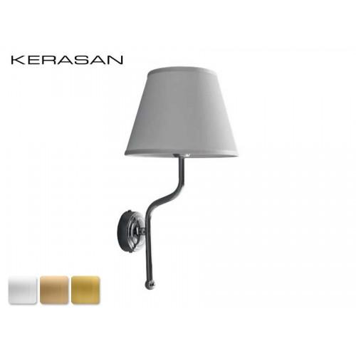 Kerasan Retro vonios kambario sieninis šviestuvas chromo spalvos su baltu šilko gaubtu 7383K0