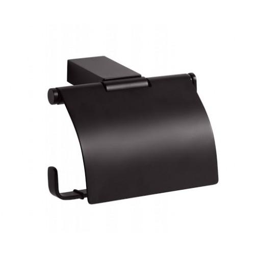 Bemeta Nero WC popieriaus laikiklis su dangteliu juodos spalvos