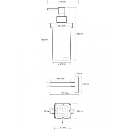 Bemeta Tasi pakabinamas stiklinis dozatorius skystam muilui 230 ml