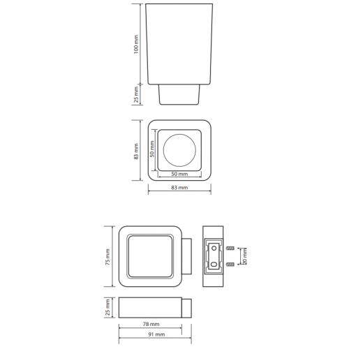 Bemeta Solo WC pakabinamas stiklinis šepečio laikiklis su šepečiu