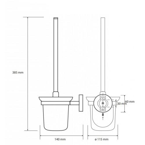 Bemeta Alfa WC pakabinamas stiklinis šepečio laikiklis  su šepečiu
