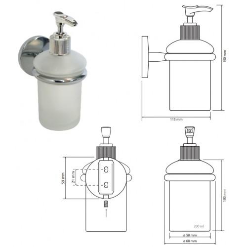 Bemeta Alfa pakabinamas stiklinis dozatorius skystam muilui 200 ml