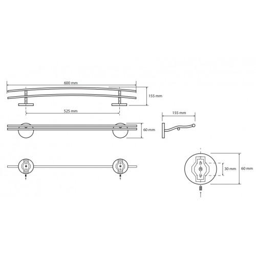 Bemeta Alfa dvigubas rankšluosčių laikiklis 60 cm