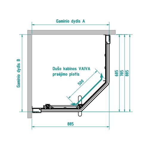 Brasta Glass penkiakampė dušo kabina Vaiva 90x70 cm, stiklo spalva pasirinktinai