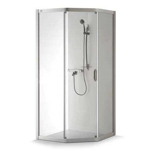 Brasta Glass penkiakampė dušo kabina Vaiva 90x80 cm, stiklo spalva pasirinktinai