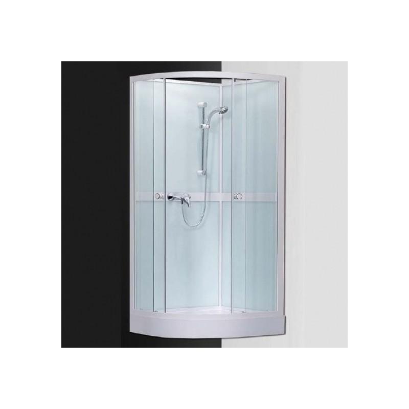 Pusapvalė dušo kabina su padėklu SaniPro Simple/800