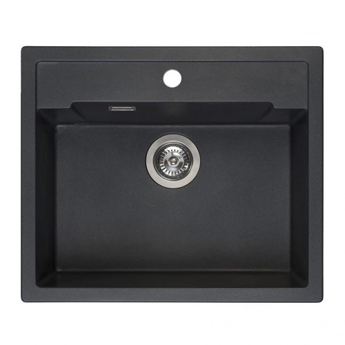 Reginox Amsterdam 54 akmens masės virtuvinė plautuvė 60 x 51 cm su skyle maišytuvui juodos matalic spalvos