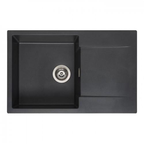 Reginox Amsterdam 78 akmens masės virtuvinė plautuvė, 78 x 50 cm juodos metalic spalvos