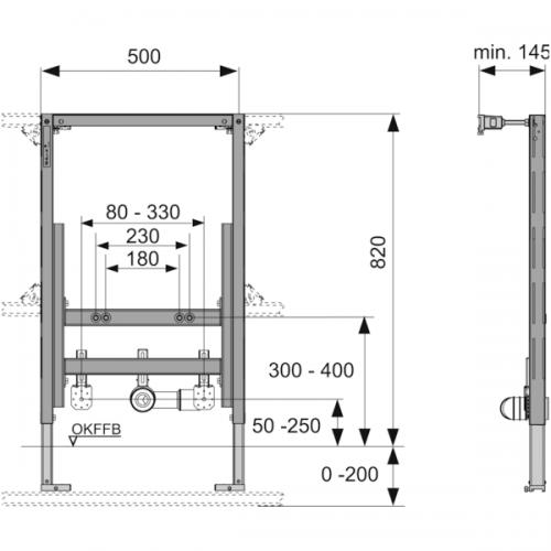 TECEprofil universalus bidė modulis, montavimo aukštis 820 mm, 9330005