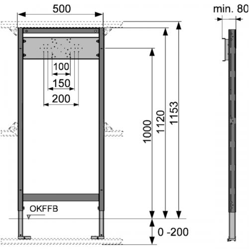 TECEprofil dušo modulis, montavimo aukštis 1120 mm, 9340000