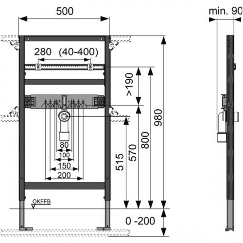 TECEprofil universalus praustuvo modulis, montavimo aukštis 980 mm, 9310011