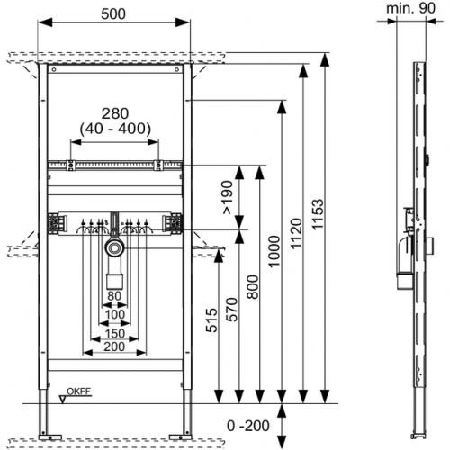 TECEprofil universalus praustuvo modulis, montavimo aukštis 1120 mm, 9310000