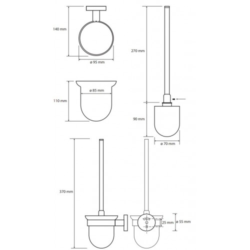 Bemeta Hematit WC šepečio laikiklis stiklinis pakabinamas