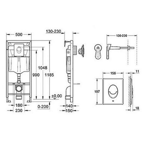 Grohe Rapid SL 3in1 potinkinis wc rėmo komplektas su baltos spalvos mygtuku, 38722001